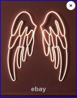 Next Home Large Angel Wings Neon LED Mains Light 78x60.5cm