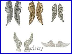 Oaktree Large Resin Wall Hung Angel Wings in Silver or Gold Metallic Ornament