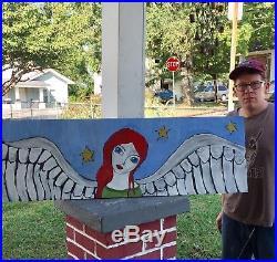 Original large Angelic oil painting folk art style stars wings