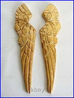 Pair Large Vintage Giltwood Angel Wings Fragments Wall Hangings