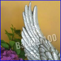 Pair of ANGEL WINGS Silver finish large decorative ORNAMENT freestanding gift