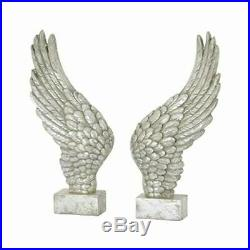 Pair of ANGEL WINGS Silver finish large decorative ornament freestanding deco
