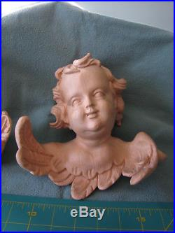 Pair of LARGE Hand Carved Wooden Wall Hanging Winged Cherubs / Angels 8 Tall