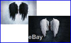 Pair of Large Framed Prints Jet Black & Pure White Gothic Feather Angel Wings