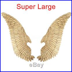 Pair of Metal Angel Wings Home Decor Hanging Wall Sculpture Gift Gold 124CM