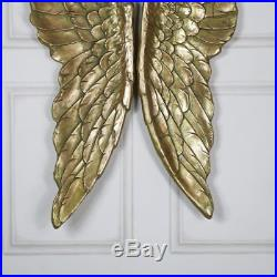Pair of large gold gilt angel wings vintage style wall art home gift accessory