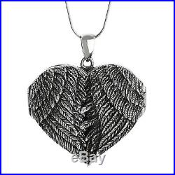 Personalized Large Angel Wing Heart Locket-925 Sterling Silver- Custom Engraving