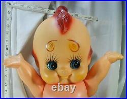 RARE KEWPIE DOLL #177 Large Vtg Marked Rubber Cupie Angel Green Wings Baby Japan