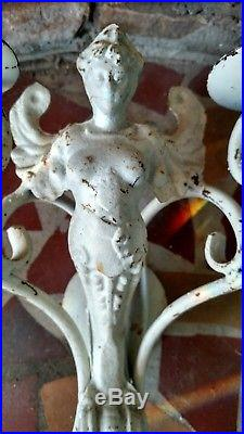 RARE Large Cast Iron Victorian Garden Statue Winged Angel Candleholder
