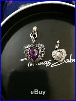 Rare & Retired Thomas Sabo Glam & Soul Large Purple Cz Angel Wings Heart Pendant