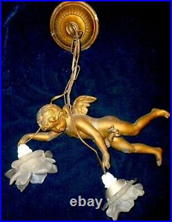 Rare Very Old French Large Antique Chandelier Winged Angel Cherub Two Rose Shade