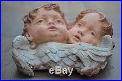 Rare Victorian Pair Large Angels Wings Cherub Chalkware Plaster Beautiful Wow