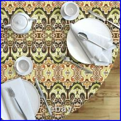 Round Tablecloth Wings Angels Autumn Deco Nouveau Swirls Cotton Sateen