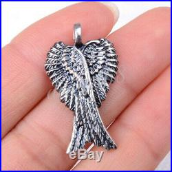 # SHIP FROM USA # 925 Sterling Silver Large Double Angel Wing Pendant U1608