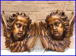 SUPER SALE! Top Quality Large Walnut Winged Angels / Putti's/Cherubs circa 1900