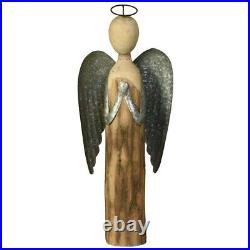 Saltoro Sherpi Galvanized Wings Wooden Angel Accent Decor With Ring Top, Large