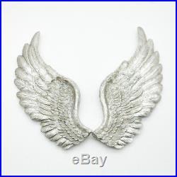 Set 2 Extra Large Ornate Silver Shabby Chic Angel Cherub Wall Art Wings 1m