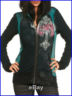 Sinful Adoria Cross Angel Wings Guns Women Zip Hoodie Reversible Green Black LRG