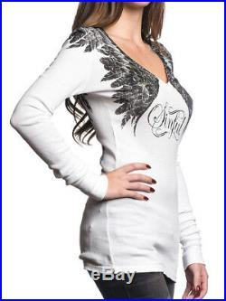Sinful Whisping Feather Angel Wings Women Long Sleeve V-Neck Thermal White M-XL