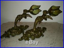 Splendid large pair Art Nouveau nude women wings angels glass tulips sconces
