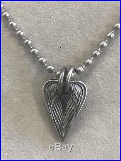 Steel Flame Large Archangel Angel Wings Pendant Sterling Silver Vintage Gunmetal