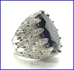 Sterling 925 Large Oval Amethyst Marquise CZ Angel Wing Chunky Statement Ring 7