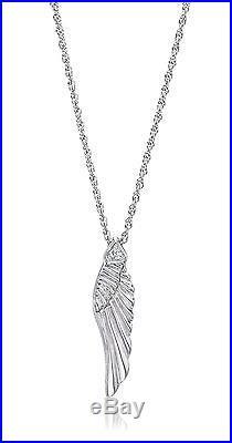 Sterling Silver Diamond Angel Wing Pendant Large