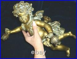 Stunning French Large Antique Chandelier Winged Angel Cherub
