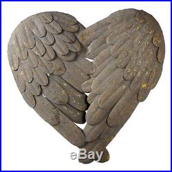 Stunning Large Grey Metal Heart Angel Wings Feathers Wall Decor Shabby Chic