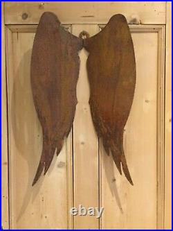 Stunning Large Rusty Metal Angel Wings Wall Hanging 61cm H