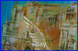 Surrealism oil painting, Original Abstract art, Wing Blue Large painting, Canvas
