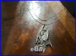 Sweet Vintage used HUGE large big angel scroll wings sterling pendant Necklace