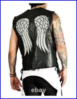 The Walking Dead Governor Leather Vest Jacket Daryl Dixon Angel Wings Vest