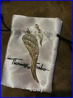 Thomas Sabo Glam & Soul Very Large Angel Wing Feather Pendant Clear Cz Stones