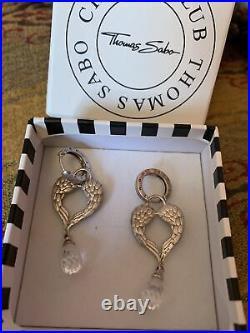 Thomas Sabo Sterling Silver Crystal large angel wings earrings