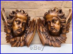 Top Quality Large Walnut Winged Angels / Putti's/Cherubs circa 1900