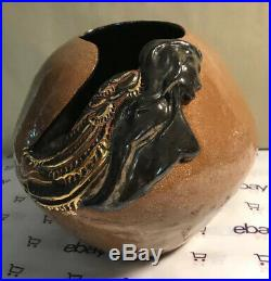 Unusual Art Pottery Large Nude Angel Yarn Bowl Brown Gold Wings Signed JAB JHB
