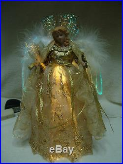 VNTG LARGE FIBER OPTIC ANGEL 12T GOLD WithGOLD TRIM GOWN WHITE FEATHER WINGS