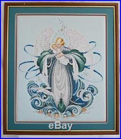 Very Large Vintage Needlepoint Winged Angel Baby Dove Huge Framed Nursery Decor