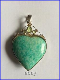 Very large stunning Silver Amazonite & Peridot Angel Wing Heart Pendant