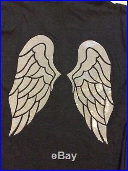 Victoria Secret Angels Wings Hoodie Silver Sequin Dark Gray Full Zip NIB Large