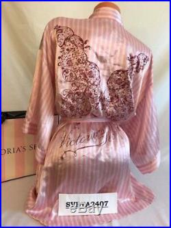 Victoria's Secret 2009 Fashion Show Striped Kimono Robe Glitter Angel Wings M/L