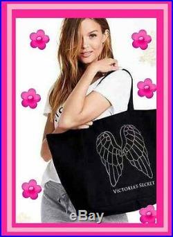 Victoria's Secret Sparkle Rhinestone Black Angel Wings Canvas Tote Large Rare
