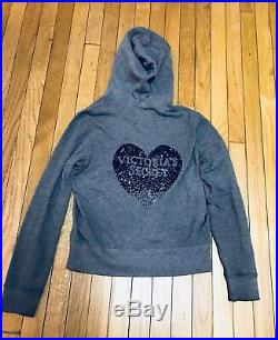 Victorias Secret L Hoodie Angel Wings Heart Gray Sequins Full Zip Sweatshirt