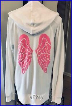 Victorias Secret SUPERMODEL ESSENTIALS HOODIE BLING ANGEL WINGS NEW Sz L