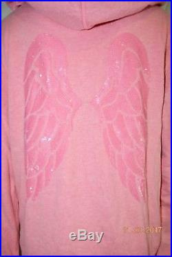 Victorias Secret Supermodel Angel Wing Sequins Bling Classic Zip Hoodie NWT L
