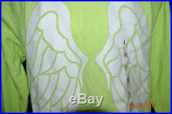 Victorias Secret Supermodel NEON Sequins Bling Angel Wings Hoodie NWT L