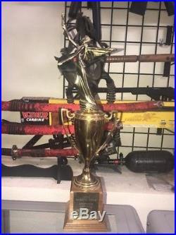 Vintage 1961 LARGE Brass Cup Angel Lady Wings Wood Trophy Award 19 Walnut Base