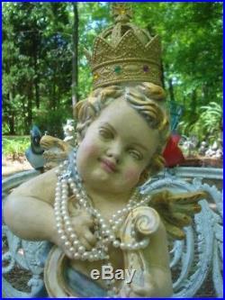 Vintage Angel Cherub Statue w Crown Wings Hand Painted Farmhouse OOAK Large 20in