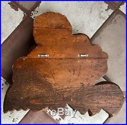 Vintage Angel Cupid Cherub Carved Wood Wall Sculpture Wings Large 20 X 19